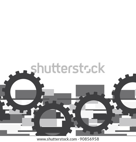 gray gears over abstract background. vector illustration - stock vector