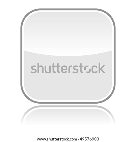 Gray glassy blank web button with gray frame and reflection