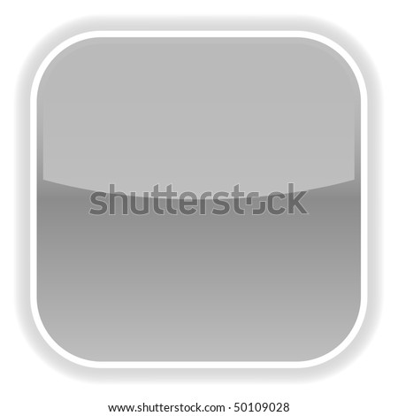 Gray glossy blank web button on white