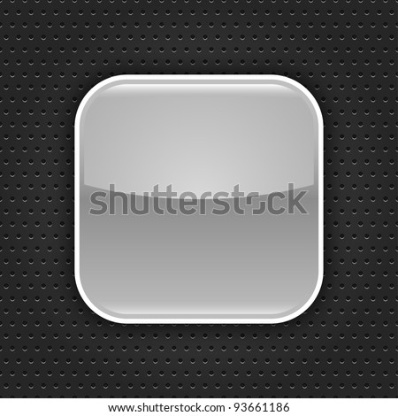 Gray glossy blank web button with white border frame. Rounded square shape icon with black shadow.  Dark gray background metal perforation texture. This vector illustration saved in 10 eps
