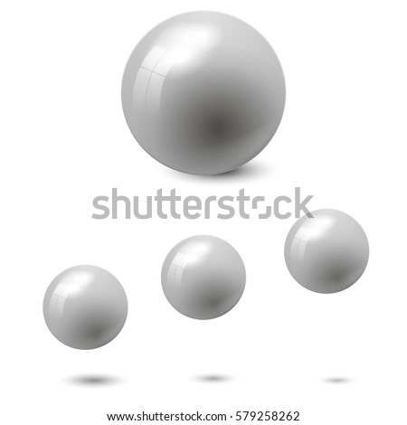 Gray glossy sphere isolated on white with shadow and reflections in the color of the sphere. Vector illustration for your design, easy to edit and change the size