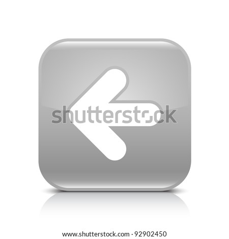Gray glossy web button with arrow left sign. Rounded square shape icon with shadow and reflection on white background. This vector illustration created and saved in 8 eps