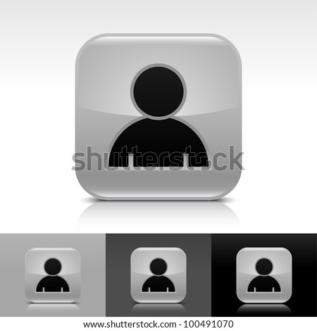 Gray glossy web button with black user profile sign. Rounded square shape icon with shadow, reflection on white, gray, black background. Vector 8 eps.