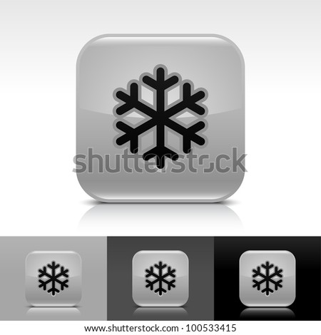 Gray glossy web button with low temperature black snowflake sign. Rounded square shape icon with shadow, reflection on white, gray, black background.
