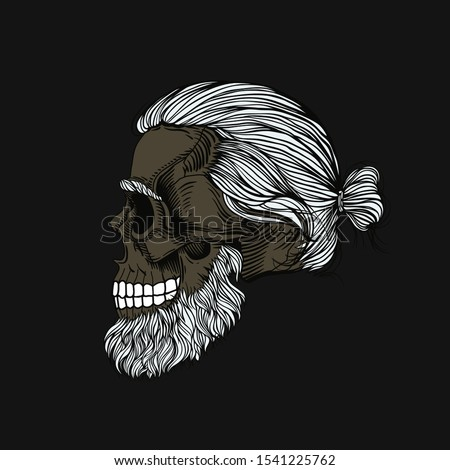 Gray-haired bearded skull, hair in a bun. Stylish men's hairstyle and beard, profile view. Picture for halloween, barbershop and clothes.