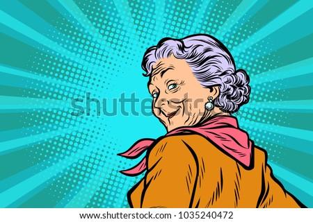 gray haired grandmother a good look. Pop art retro vector illustration comic cartoon figure vintage kitsch