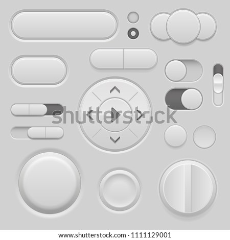 Gray interface buttons. 3d set of UI icons. Vector illustration