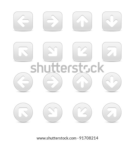 Gray internet button with white arrow symbol. Round and square shape with shadow on white background. This vector illustration created and saved in 8 eps
