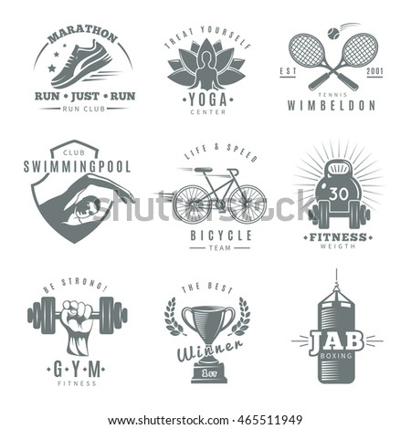 gray isolated fitness gym label