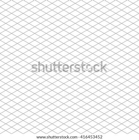Gray isometric grid on white, seamless pattern