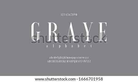 Gray luxury minimal classic modern typeface typo typography alphabet fonts and number, uppercase lowercase and number. Vector illustration with gray color or grey background.