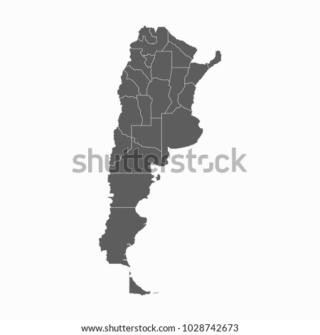 Gray map-Argentina map. Each city and border has separately for your infographics and earth template for website. Vector illustration eps 10.