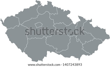 Gray Map of Regions of Czechia on White Background Stock photo ©