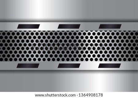 Gray metal background, perforated metal texture. Gray metal texture. Scratched metallic surface with perforation. Modern abstract background. Vector 3d illustration