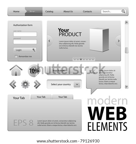 Gray Modern Website Design Elements: Buttons, Form, Slider, Scroll, Icons, Tab, Menu, Navigation Bar