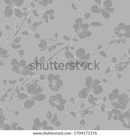 gray monochrome seamless floral