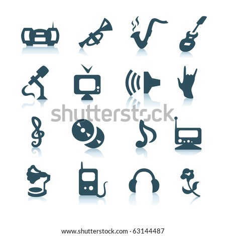 Gray music icons with shadows on white background