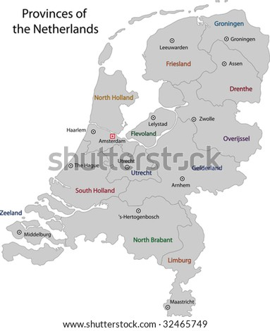 Gray Netherlands map with regions and main cities - stock vector
