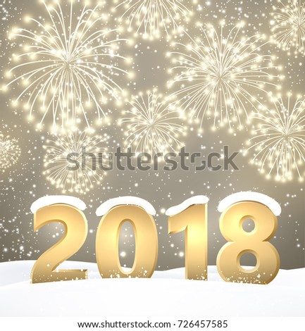 Gray 2018 New Year background with fireworks. Vector illustration. #726457585