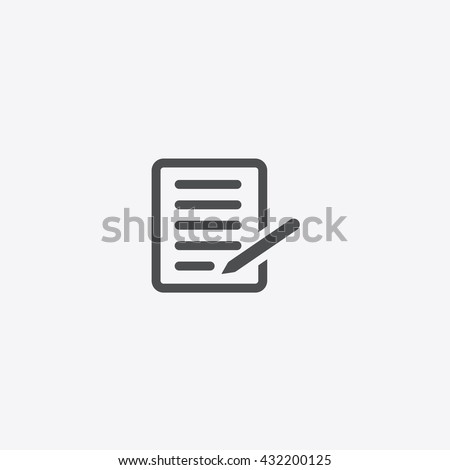 Gray paper notebook note icon vector silhouette, Document With Pencil on isolated background