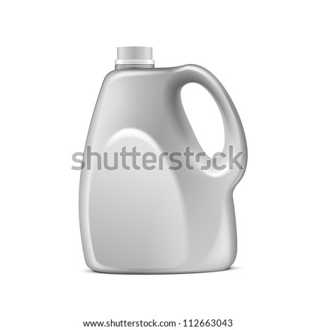 Gray Plastic Jerrycan On White Background Isolated. Ready For Your Design. Product Packing Vector EPS10