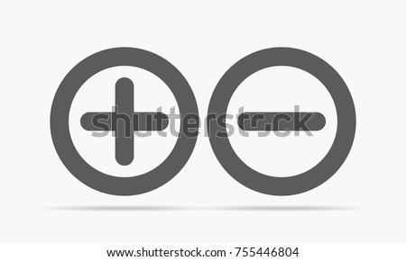 Gray plus minus. Vector illustration. Plus and minus round icons on light background.
