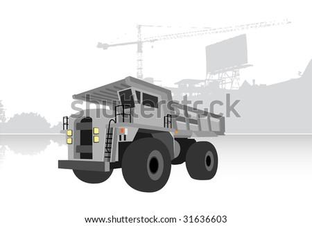 gray quarry truck, vector illustration