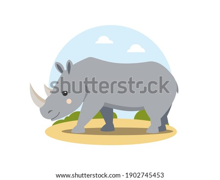 Gray rhino in flat cartoon style walking in african landscape. Happy friendly rhinoceros. Wild animal. Isolated cute children's illustration on white background. Vector, EPS10. Сток-фото ©