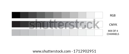 Gray scales in RGB, CMYK and 4-channel mixing