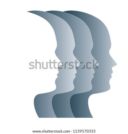 gray silhouettes of faces