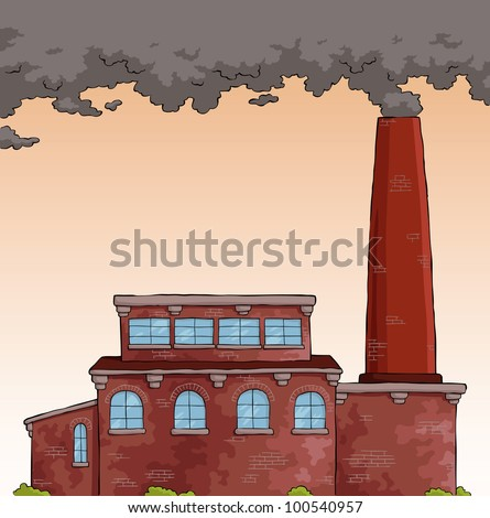 Gray smoke from a pipe factory vector illustration