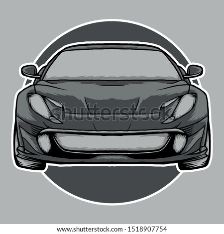 gray sport car illustration