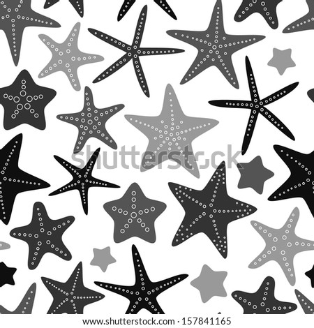gray starfish on white seamless