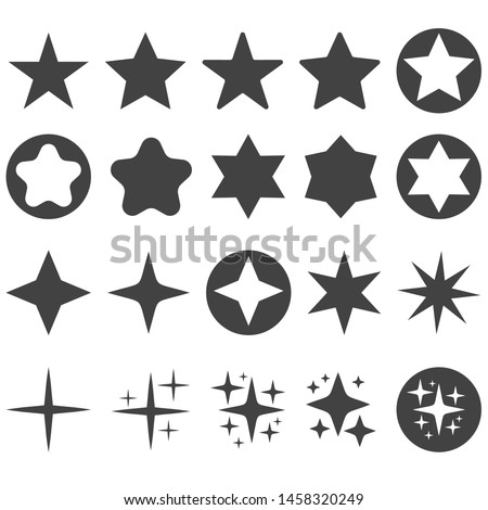 Gray Stars and sparkles. Simlpe Rating icon Set.  Star with rounded corners in circle. Sun glint. Gleam Light of explosion or fireworks rays.