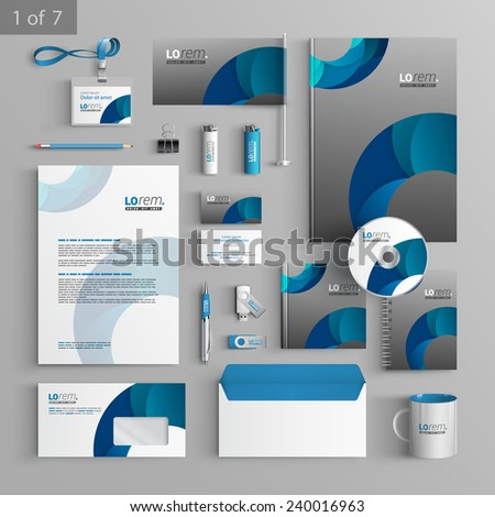 Gray stationery template design with blue round elements. Documentation for business.