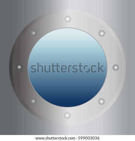 Gray submarine window. Flat vector illustration. EPS 10