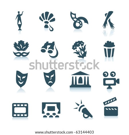 Gray theatre and cinema icons with shadows on white background