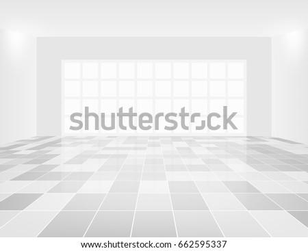 gray tile floor and space in