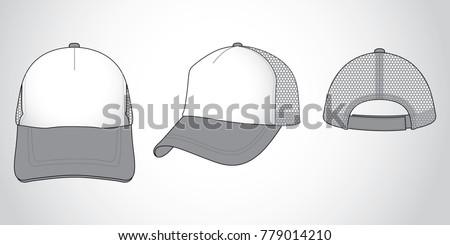 trucker mesh hat template vector download free vector art stock