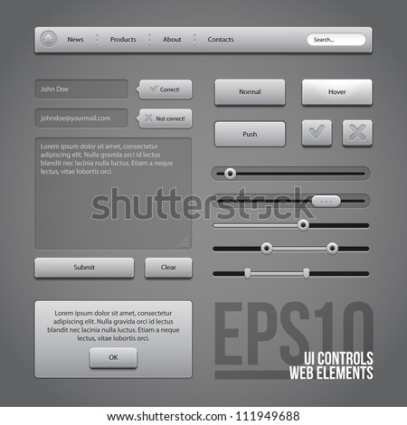 Gray UI Controls Web Elements: Buttons, Comments, Sliders, Message Box