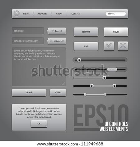 Gray UI Controls Web Elements: Buttons, Comments, Sliders, Message Box