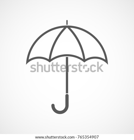 Gray umbrella icon in flat linear design. Vector illustration. Umbrella sign on light background.