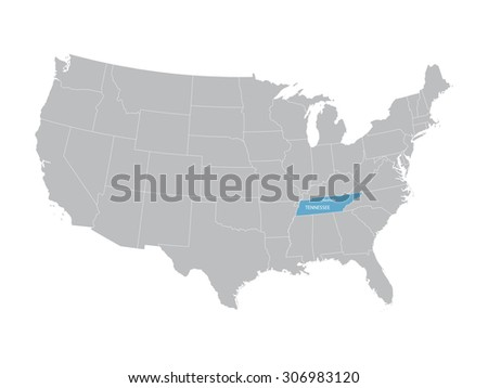 gray vector map of United States with indication of Tennessee