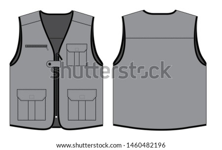 Gray Vest Design With Multiple Pockets and Black Edging Vector.Front and Back Views. Foto stock ©