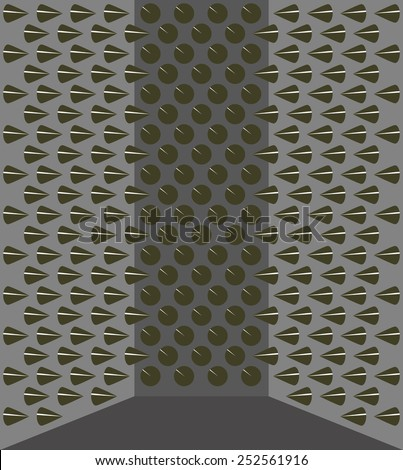 gray walls with conical sharp