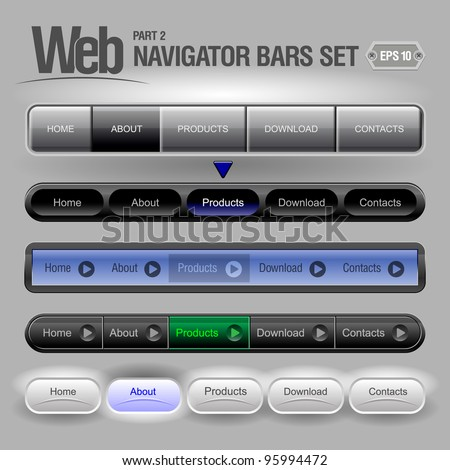 Gray Web Elements Navigation Bar Set
