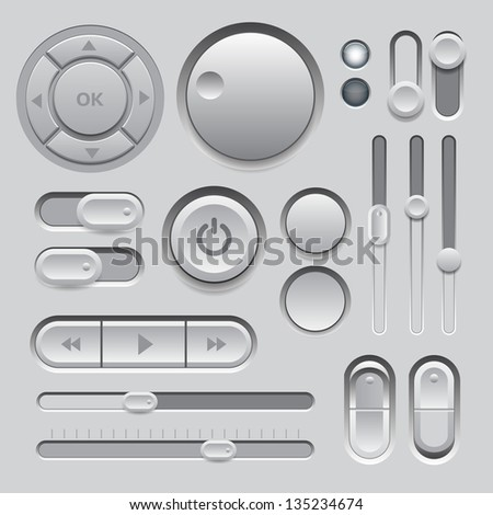 Gray Web UI Elements Design. Elements: Buttons, Switches, Sliders