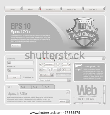 Gray Website Design Elements: Buttons, Form, Slider, Scroll, Icons, Tab, Menu, Navigation Bar