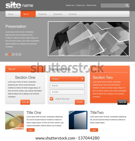 Gray Website Template 960 Grid. vector