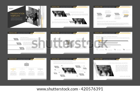 Gray with yellow elements abstract templates. Presentation templates. Use in presentation, flyer, corporate report, marketing, advertising